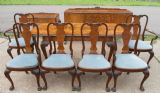 SOLD - Queen Anne Style Burr Walnut Carved Dining Room Suite